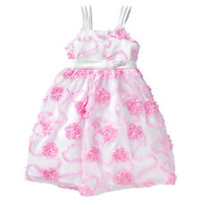 NWT Barbie Licensed Girls White Pink Sequins Tulle Flowers Party Dress Size 5 6