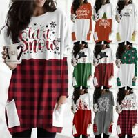 Womens Christmas Long Sleeve Baggy Pullover Ladies Jumper Loose Tunic Shirt Tops