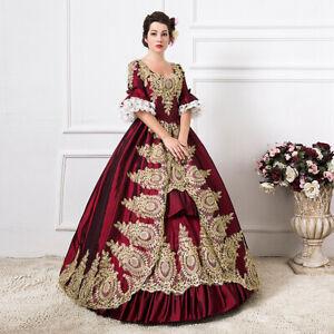 Women Vintage Renaissance Dress Marie Antoinete Rococo Baroque Cosplay Costume