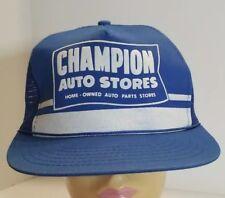 Vtg Champion Auto Stores Blue Mesh Snap-back Trucker Hat Cap Adjustable