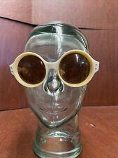 Vintage 1960's Oversized Retro White Round Women's Sunglasses Willson Italy Mod