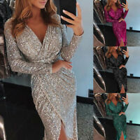 Fashion Women Deep V Sequins Wrap Ruched Long Sleeve Nightclub Dress Shine Party