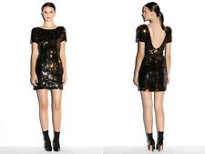 Milly 0 Nwt Gold Sequin V-Back Minidress Cocktail Dress Scoop Back XS 0