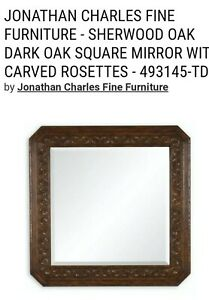 Johnathan Charles Fine Furniture: Dark Oak Square Mirror w/Hand Carved Rosettes