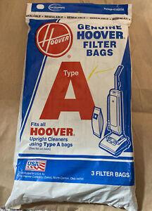 NEW Genuine Hoover Type A Vacuum Filter Bags Total 3 Bags OEM Original Upright
