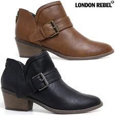 Ladies Mid Block Heel Cut Out Riding Cowboy Ankle Biker Chelsea Boots Shoes Size