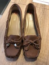 MICHAEL KORS Amber Brown Patent Leather Loafers Mocassin Size 7 Flats Shoes