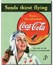 Coca Cola Metal Tin Sign Coke Sends Thirst Flying Home Wall Garage Decor New