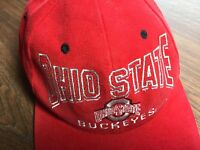 Cap Hat OHIO STATE BUCKEYES Red Snapback - Embroidered w Unusual Shaped Font LN!