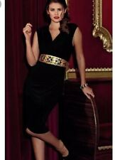 Gok Wan Black And Gold Dress With Belt Size 8-10 V Neck Party Evening Wedding