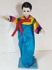 "Asian Korean Doll Traditional Clothing Hanbak Painted Posable Wood Base VTG 12"""