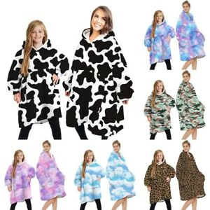 Oversized Family Hoodie Blanket Plush Fleece Winter Pullover Snuggle Sweatshirt