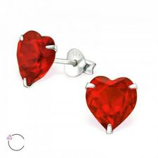 Childrens Girls 925 Sterling Silver Heart Made with Swarovski Elements- Boxed