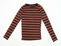 New Look Womens Size 8 Striped Cotton Blend Multi-Coloured Top (Regular)