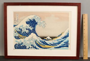 Antique Katsushika Hokusai UNDER THE GREAT WAVE Japanese Woodblock Print, NR