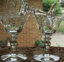 Hawkes  Signed  Champagne  Sherbet Stemware, Leaves, Berries