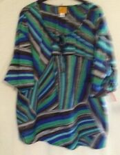 New Ruby Rd $65 Jewel Tone Keyhole Brushstroke Rolled Cuff Blouse Plus 1X 2X