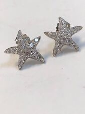 Cz Star Fish Stud Earrings Solid Sterling Silver 925 Clear