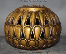 "6""  Marked Old Chinese Buddhism Bronze Gilt Lotus Flower Incense burner Censer"