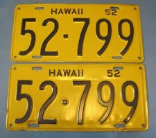 1952 Hawaii License Plates matched pair