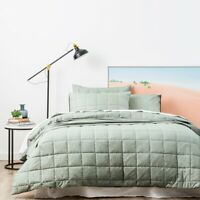 Park Avenue Paradis washed Chambray Quilted Quilt Cover set-Sage