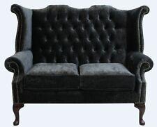 Chesterfield 2 Seater Queen Anne High Back Sofa Modena Black Velvet Fabric