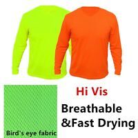 Hi Vis Safety T Shirts High Visibility Fast Drying Work Sports Wear Long Sleeve