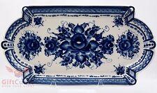 Porcelain Gzhel Tray Salver server dish cobalt blue author's work