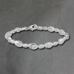 Silberdream 18,8cm Bracelet en Argent Ovale Paillettes Blanc Femme SDA444W