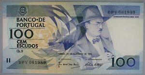 Ek // BILLET 100 escudo PORTUGAL 1988 Fernando Pessoa UNC