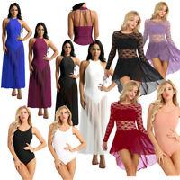 Women Lace Lyrical Dress Contemporary Ballet Gym Dance Costume Leotard Unitards
