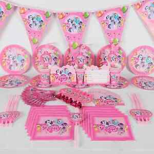MY LITTLE PONY BIRTHDAY PARTY TABLE COVER CUPS PLATES BUNTINGS HATS BALLOONS