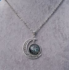 Game Of Thrones 3 Headed Dragon Crescent Moon Glass Cabochon Pendant Necklace.