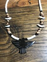 #1087 Vintage 1970s Carved Black Eagle Fetish, White Heishi, Black Agate, Silver