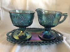 Vintage Indiana Glass Grape & Leaves Carnival Glass Blue Creamer, Sugar, Tray