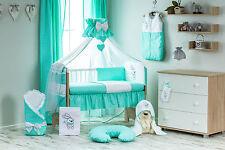Babybett mit 14-tlg-KomplettSet Bestickte Bettwaesche Babybettset Himmel135x100