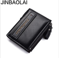 Men Leather High Capacity Wallet Credit Card Coin ID Holder Zipper Retro Purse