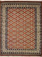 Rugstc 4x6 Bokhara Jaldar Orange  Rug, Hand-Knotted,Geometric with Silk/Wool