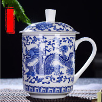 NEW Chinese Dragon Coffee Mug with Cover Ceramic Porcelain Office Tea Cups Gifts
