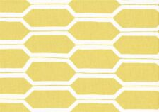 Braemore Fabric Gold and White Geometric Print Cotton Drapery Upholstery