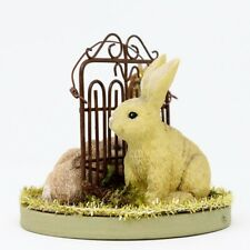 1 Mom & 2 Baby Bunnies Easter Table Decor Brown Spring Rabbit Figurine Resin