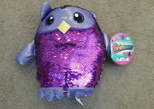 """SHIMMEEZ Oliver the Owl 8"""" Purple & Silver Plush Sequin Animal NEW"""