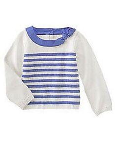 "NWT Girls 4 Gymboree ""HOLLAND DAYS"" Cotton DELFT BLUE striped SWEATER . . Rare!"