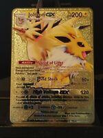 Pokemon Custom Gold Metal Card - Jolteon GX