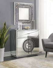 Mirrored Furniture Silver Chest 2 Door Cabinet Drawer Glass Living Room Crystal
