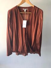 Country Road CR Love Sz L Satin Wrap Top in Cognac - Shirt 14 L