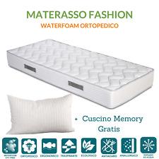 Materasso in Waterfoam Ortopedico Ecologico H 20 cm + Cuscini Memory Foam GRATIS