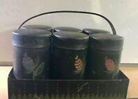 Vintage Toleware Tin Metal Spice Cans Jars and Carrier, Hand Painted