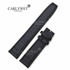 21mm Nylon Leather Black Watch Band Strap For PILOT'S Portugieser PORTUGUESE