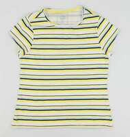Pep & Co Yellow Striped Cotton Womens T-Shirt Size 12 (Regular)